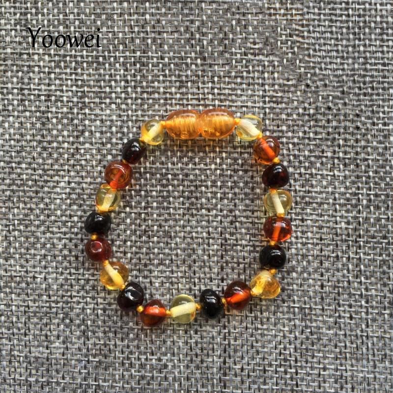 Yoowei Baby Amber Teething Bracelet/Necklace for Boys Girls Birthday Gift 11 Colors Natural Baltic Real Amber Jewelry 14cm-33cm