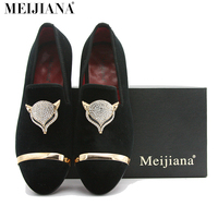 Mei Jia NA Handmade Mens Loafers Suede Leather Fox Metal Buckle Pointed Toe Brand Shoes