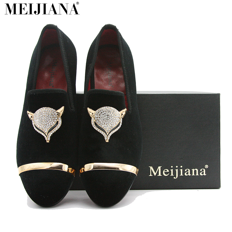 ФОТО Mei Jia NA Handmade Mens Loafers Suede Leather Fox Metal Buckle Pointed Toe Flats Brand Shoes
