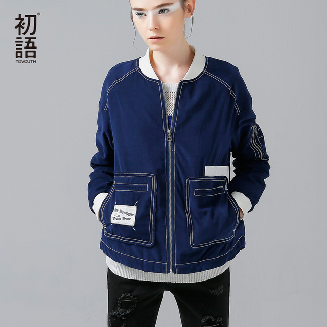 Toyouth Women Baseball Jackets Patchwork Long Sleeve Outerwear Coat Spring New Short Bomber Jacket Double Pockets Chaquetas