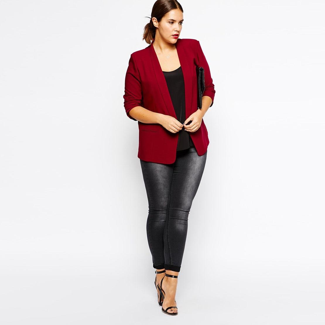 Blazer Women Plus Size Slim Black Red Autumn
