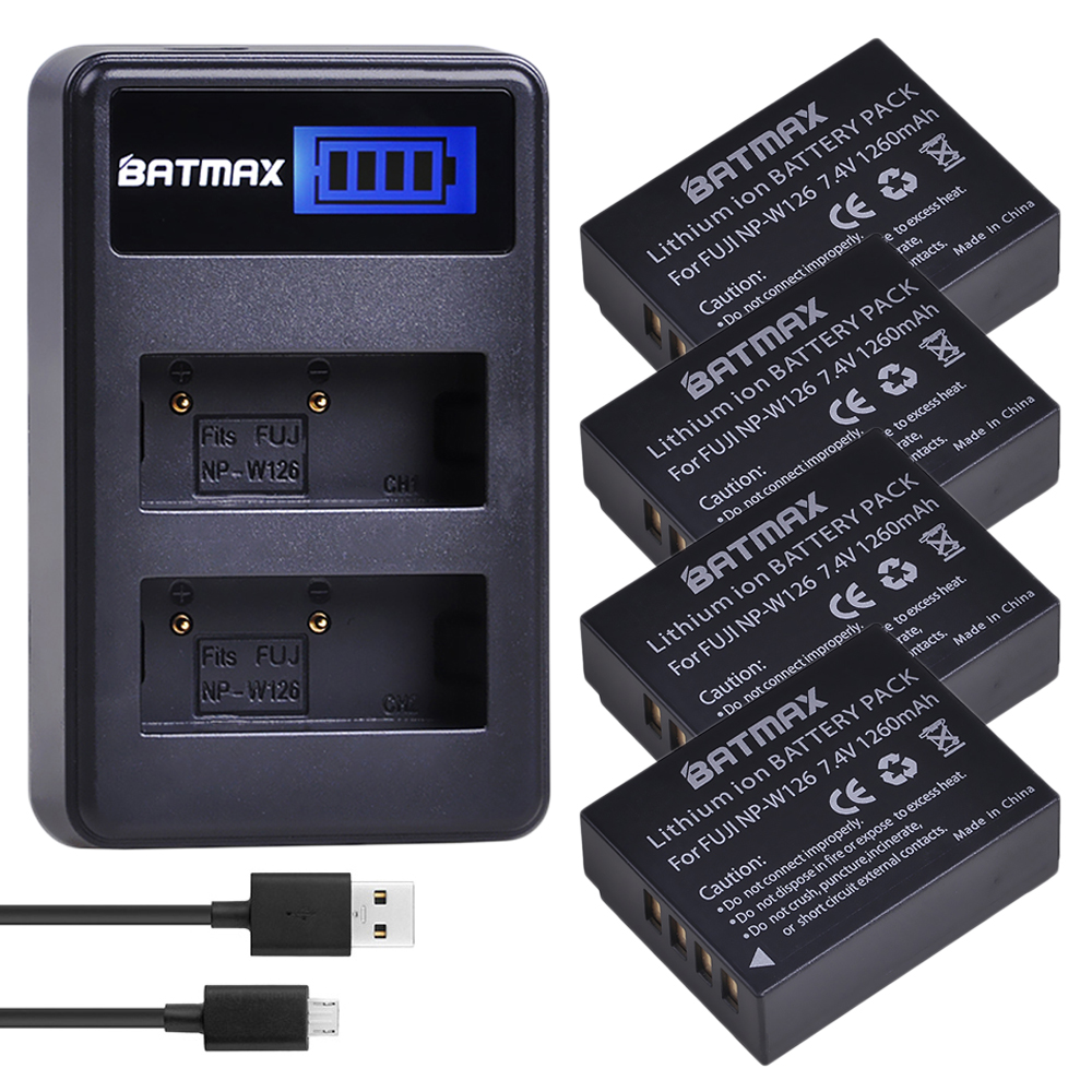 4Pcs 1260mAh NP-W126 NP W126 NPW126 Batteries&LCD Dual Charger For Fujifilm FinePix HS30EXR, HS33EXR, X-Pro1, X-E1, X-E2, X-M1