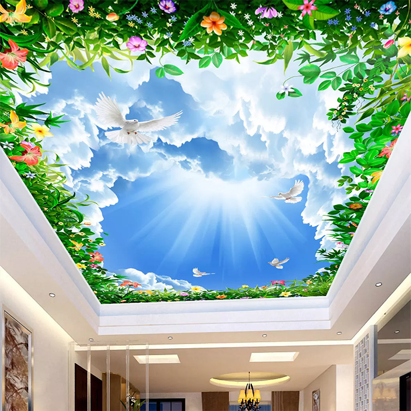 3d Blue Sky And White Cloud Ceiling Wallpaper Self Adhesive Home