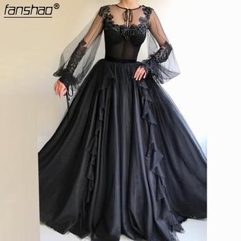 Black Muslim Evening Dresses  Lace A-Line Long Sleeves Beads Islamic Dubai Saudi Arabic Long Elegant Evening Gown Prom Dress