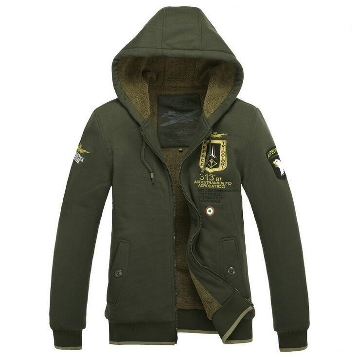 Ücretsiz nakliye Kış Ceket Erkekler Yeşil Hava Kuvvetleri ceket sıcak moda mens palto parka dış giyim pamuk yastıklı kapşonlu Fleeces coat