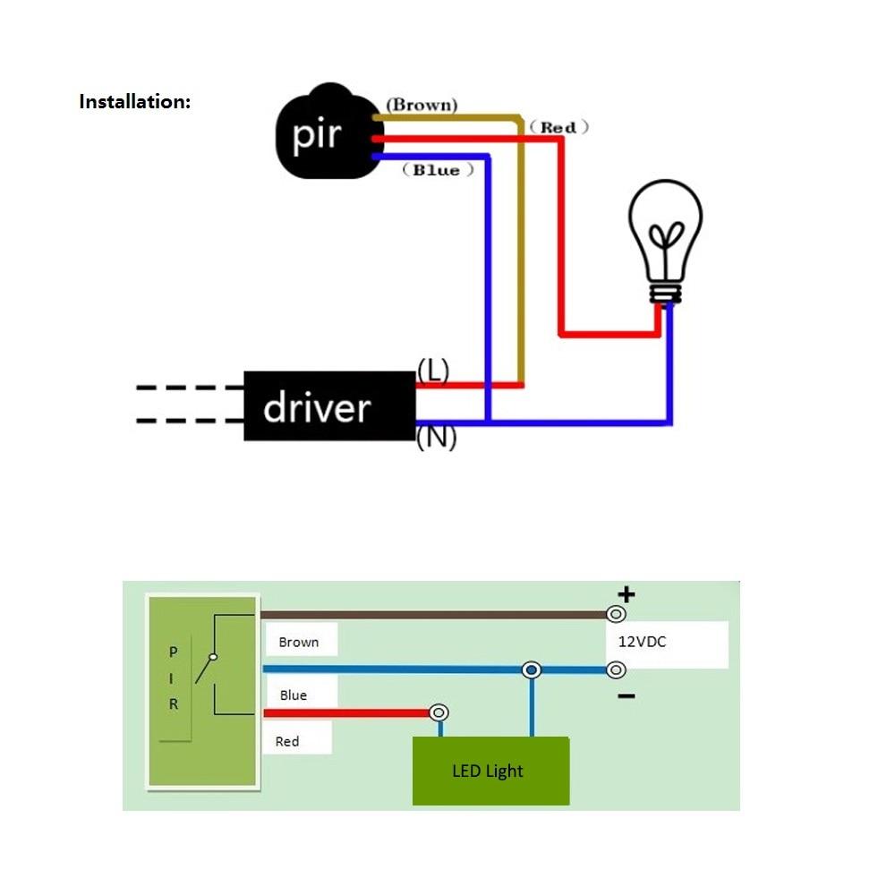 led motion sensor 12v 220v automatic infrared pir infrared detector motion sensor thermostat how to connect the motion sensor switch on off