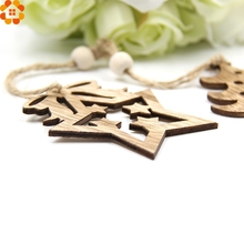 16PCS Mini Cute DIY Christmas Deer&Tree Wooden Pendants Ornaments  Christmas Party Decorations Xmas Tree Ornaments Kids Gift