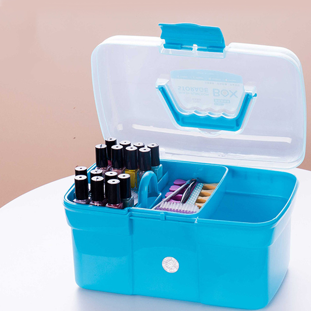 Portable Hand-held Desktop Storage Box Plastic Scissors Makeup Organizer Jewelry Nail Polish Pen Container Manicure Tool Case