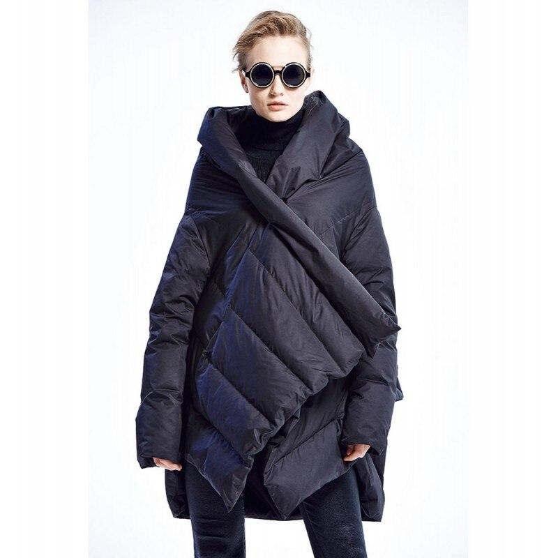 Harajuku Cloak Puffer Down Jacket Women Hooded Full Sleeve Ultra Lightweight Warm Down Coat Female Streetwear Parka Outwear New