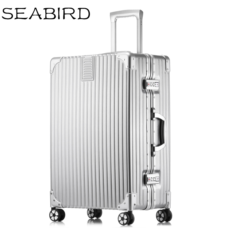SEABIRD Aluminum Frame+PC+ABS Rolling Travel Luggage 20'24'26'29inch Crash Proof Truckle Suitcase Castor Lock Rolley