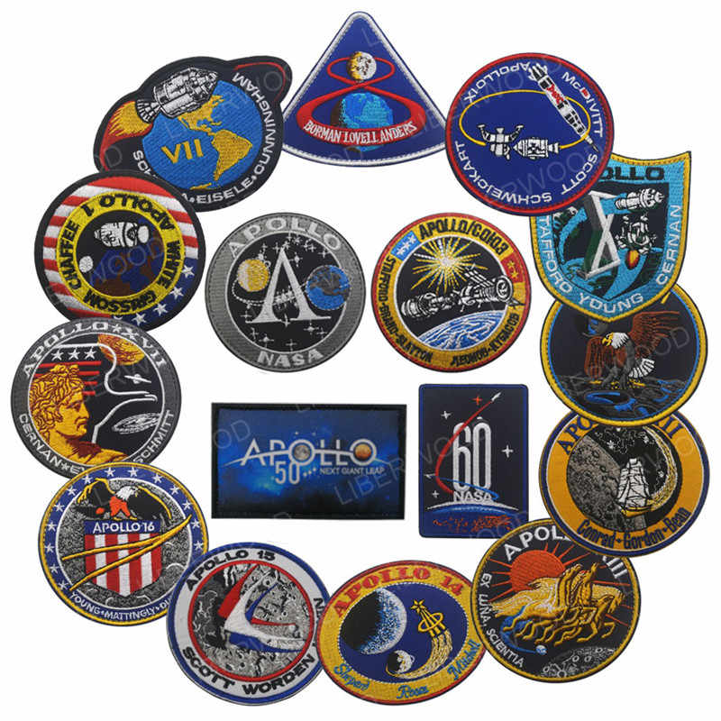 VINTAGE ORIGINAL APOLLO 11 VOYAGER EMBLEMI POSTERIORE SPAZIO PATCH Collage USA Apollo Mission Patch Set 1 7 8 9 10 11 12 13 14 15 16 17