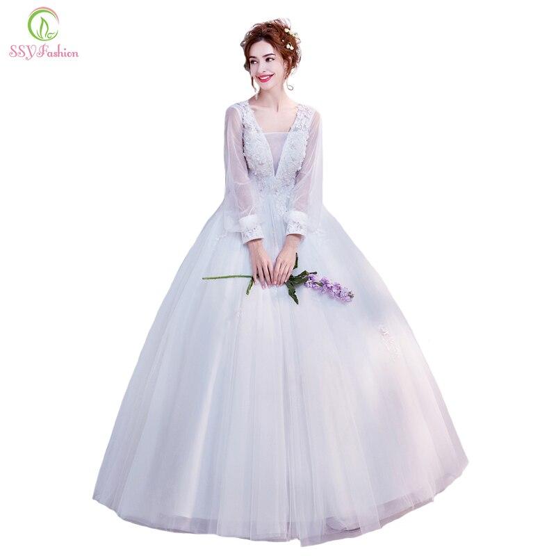Ssyfashion Long Sleeve Wedding Dresses The Bride Elegant: SSYFashion New Wedding Dress The Bride White Lace Flower