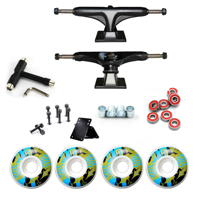 52mm*30mm Skateboard Wheels And 5inch Skateboard Truck Bearings Hard Wares Rubber Gasket Riserpad 100A Printing PU Wheels цены