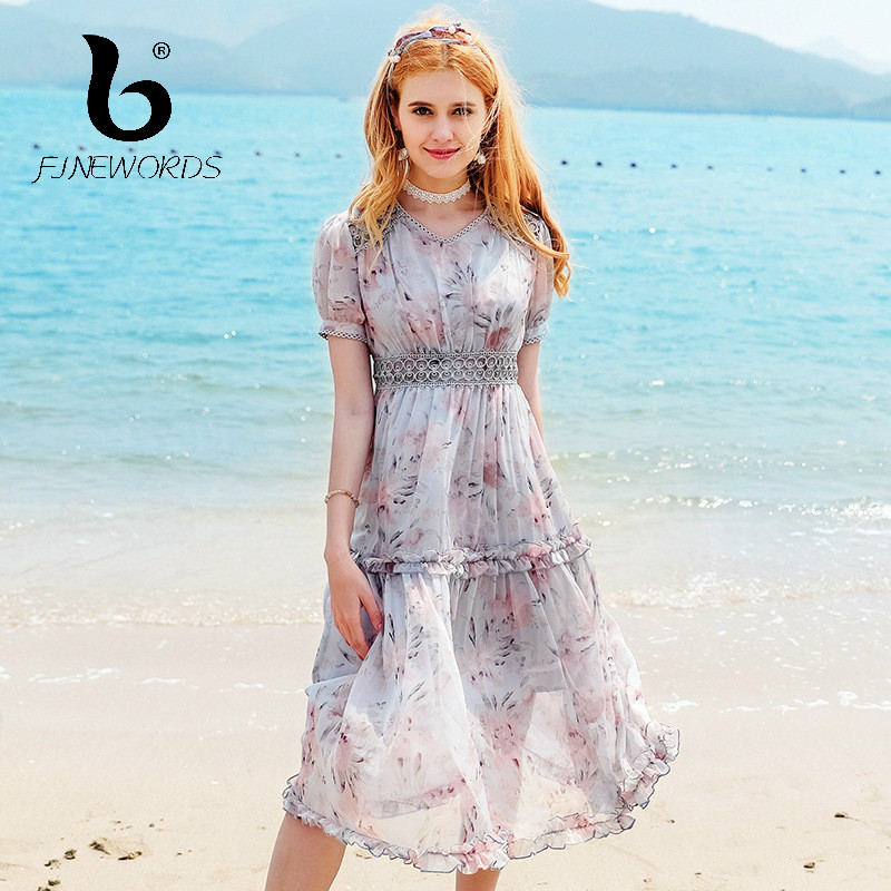 5207b2fb86a FINEWORDS 2018 New Beach Holiday Summer Vestidos Floral Printed Chiffon  Dress Women A Line Gentlewomen Dating Wear Party Dresses-in Dresses from  Women s ...
