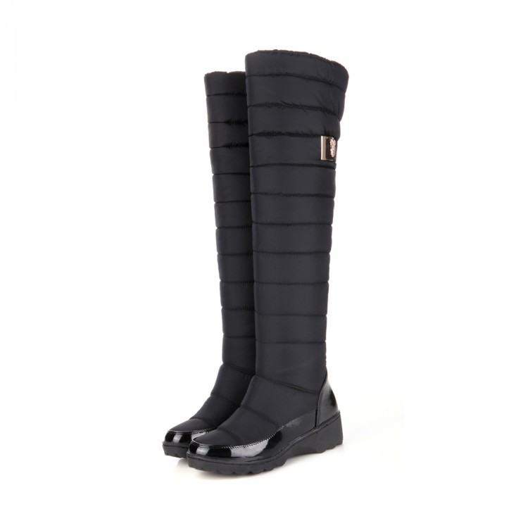 Bottes Chaud De Mode Imperméables Haute Genou Bas Le Neige Mujer Zapatos Rond Bout Noir Vers Dames Femmes Cuisse Fourrure bleu Russie Hiver 5n6TPxw4