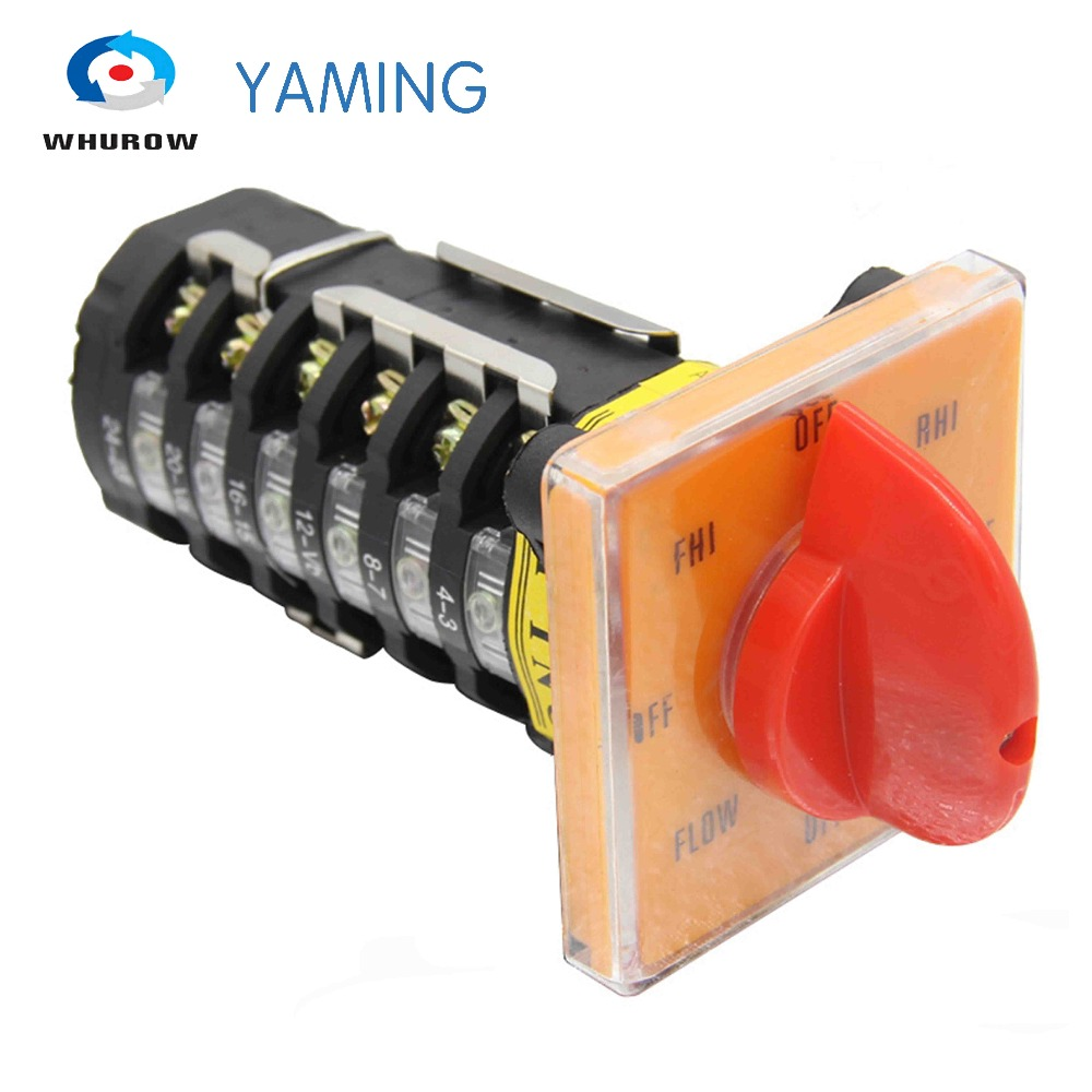 YMW28-20/6 Milling Machine switch 20A 6 poles 8 position control motor speed changeover rotary cam switch T-16EXF64D-6(China)