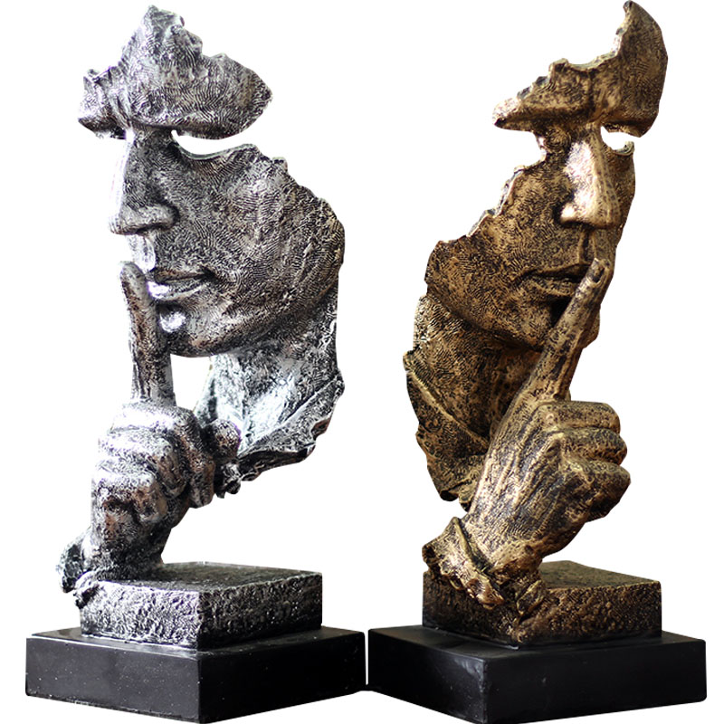 Creative Abstract Sculpture Statue Ornament Silence Is Gold Office Home Decoration Accessories Modern Art Resin Decoration