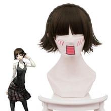 купить Persona 5 Makoto Niijima Cosplay Wig 30cm Short Heat Resistant Synthetic Hair Braided Wig for Women Anime Costume Party Brown по цене 1432.24 рублей