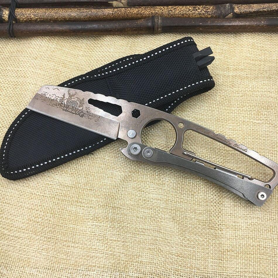 Multifonction couteau droit avec Mousqueton fixe blade58HRC 7Cr17mov chasse extérieure suisse couteaux camping survie de carte de crédit
