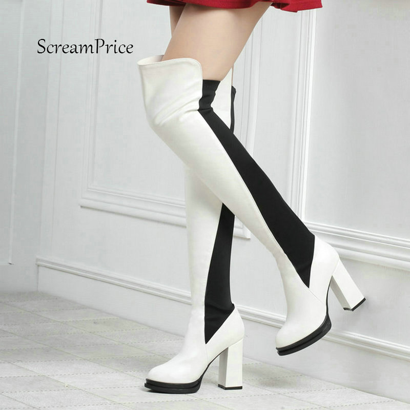 Warm Winter Thick High Heel Slip On Over The Knee Boots Fashion Mixed Colors Platform Women Thigh Boots White Red Black women platform chunky high heel over the knee boots side zipper winter warm thigh boots fashion woman shoes white black