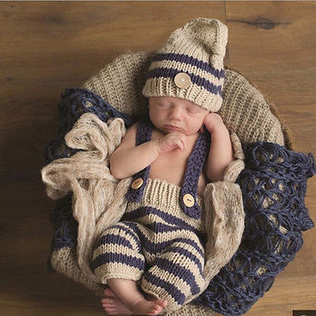 Newborn Baby infant Girls cute Boys Crochet Knit Costume Photo Photography Prop  Pants with Hat Outfit clothes 0-3M Baby