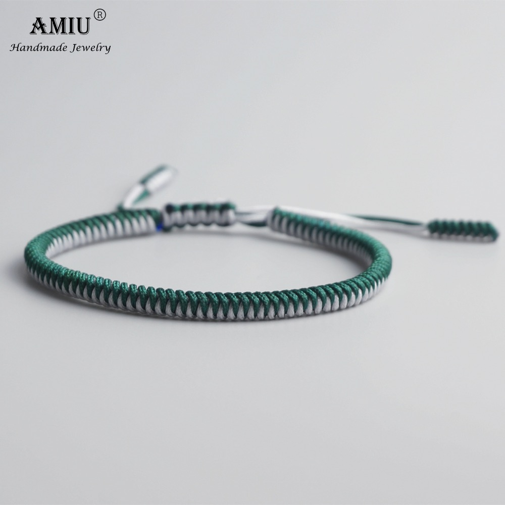 AMIU Tibetan Buddhist Lucky Charm Tibetan Bracelets & Bangles For Women Men Handmade Thread Knots Rope Christmas Gift Bracelet