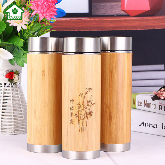 c0b2eb77dd7 360ml/450ml Bamboo Thermos Cup Vacuum Insulated Tea Cup with Lid Tea  Strainer Stainless Steel Mug Water Bottle for Travel Office
