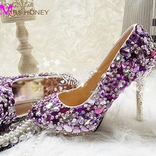 Romantic Purple Crystal Wedding Shoes Real Photo High Quality Graceful Bridal High Heels Rhinestone Platform Party Prom Pumps
