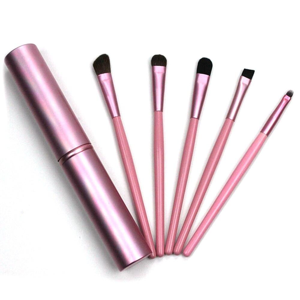 ELECOOL 5PCS Set Makeup Brushes with Wood Handle Holder Foundation Highlight Blush Powder Make up Brushes