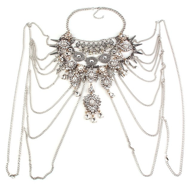 Sexy DIY Summer Body Necklace Chain Luxury Chunky Metal Maxi Necklace Pendant Femme Statement Instagram Necklace 3026