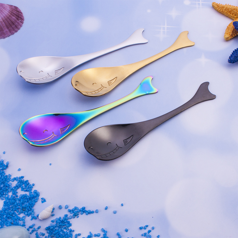 BalleenShiny Cartoon Whale Dolphin Coffee Stir Spoon Stainless Steel Creative Cake Kid Dessert Scoop Kitchen Cup Tableware Decor in Other Utensils from Home Garden