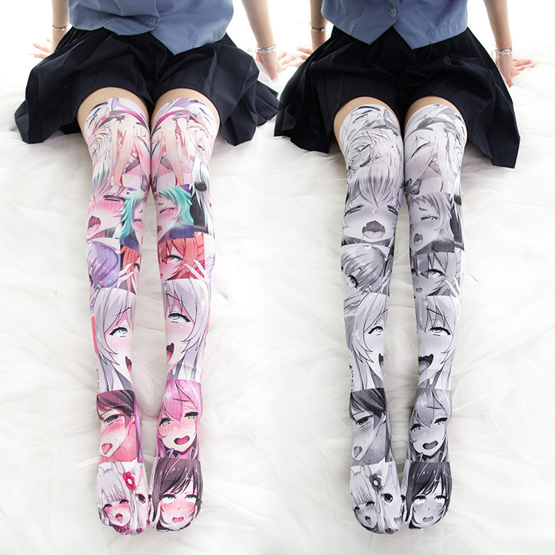 Anime Printed High Thigh Stockings 1