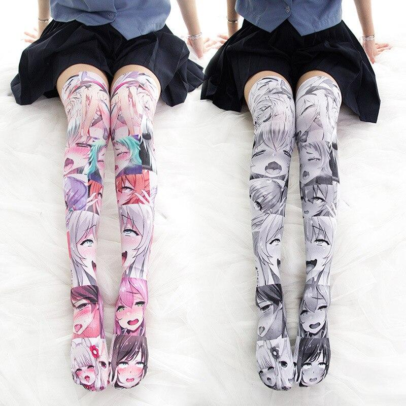 Бархатные аниме Мультяшные принты выше колена бедер косплей костюм милая Лолита сексуальные чулки до колена