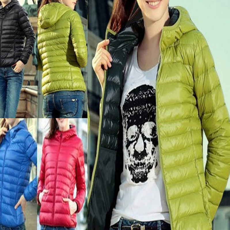 Winter Women Ultra Light Hooded Jacket Warm Zipper Coats Long Sleeve   Parkas   Female Solid Portable Outwear