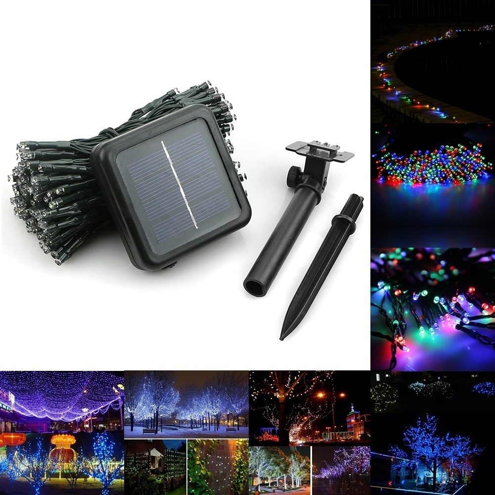 HENYNET 50-200 Led Solar Power Fairy Light String Lamp Party Halloween Xmas Decor