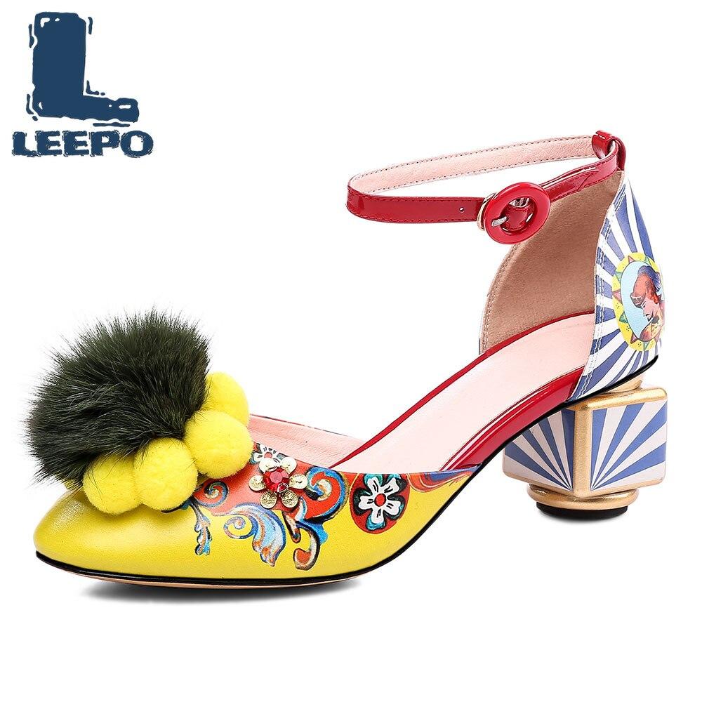 LEEPO Shoes Women High Heels Sandals Handmade Prints Pumps Women Graffiti Wedding Shoes Female Hairy Sandals