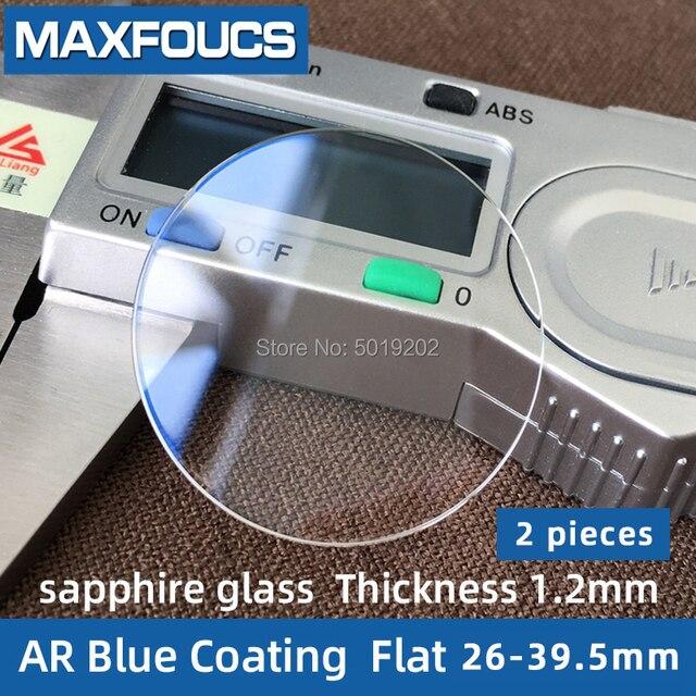 時計ガラスサファイアガラス ar ブルーコーティングフラット厚さ 1.2 ミリメートル直径 26 ミリメートルに 39.5 ミリメートル、 2 ピース送料無料