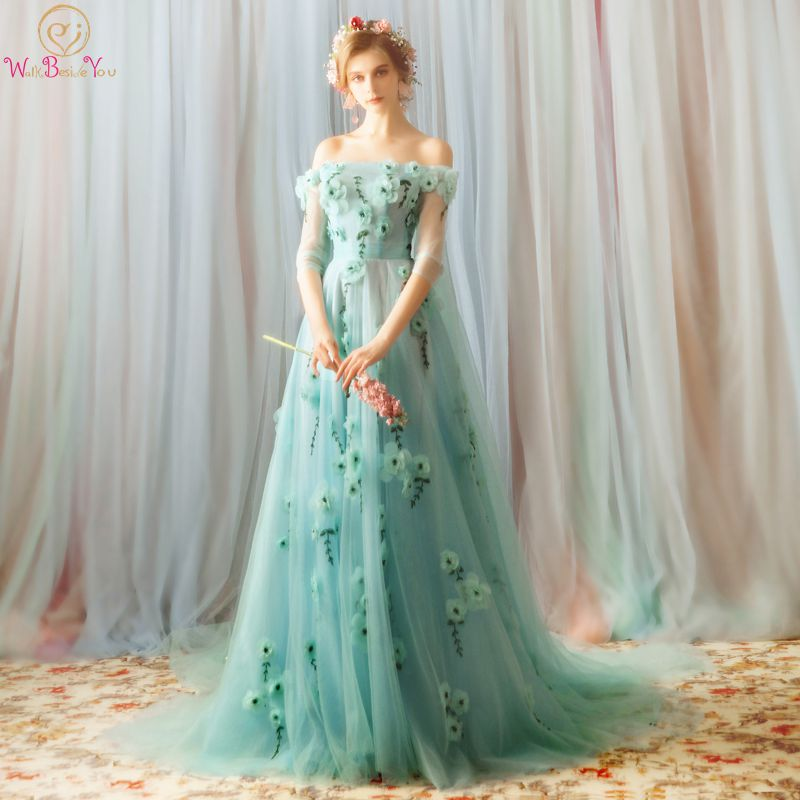 Walk Beside You Light Green Prom Dresses Off Shoulder Three Quarter Sleeves Flowers Beaded Evening Gown Tulle Sexy Transpararent