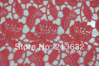 POs103 17 textile watermelon red soluble embroidery, brown soluble embroidery, number for the selected soluble embroidery