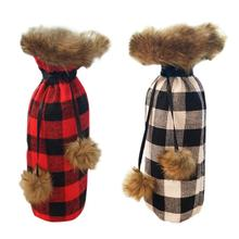 Christmas Wine Bottle Cover Plaid Set Home Decoration Casual Unisex Supplies
