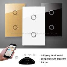 Broadlink RM PRO+RF Touch Wall Switch US 2Gang 433MHZ Wireless Switch Universal WIFI Smart Home Remote Controller WIFI+IR+RF