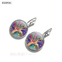 1 Pair Tree of Life Flower Stud Earrings Vintage Cabochon Glass for Women Jewelry Gifts