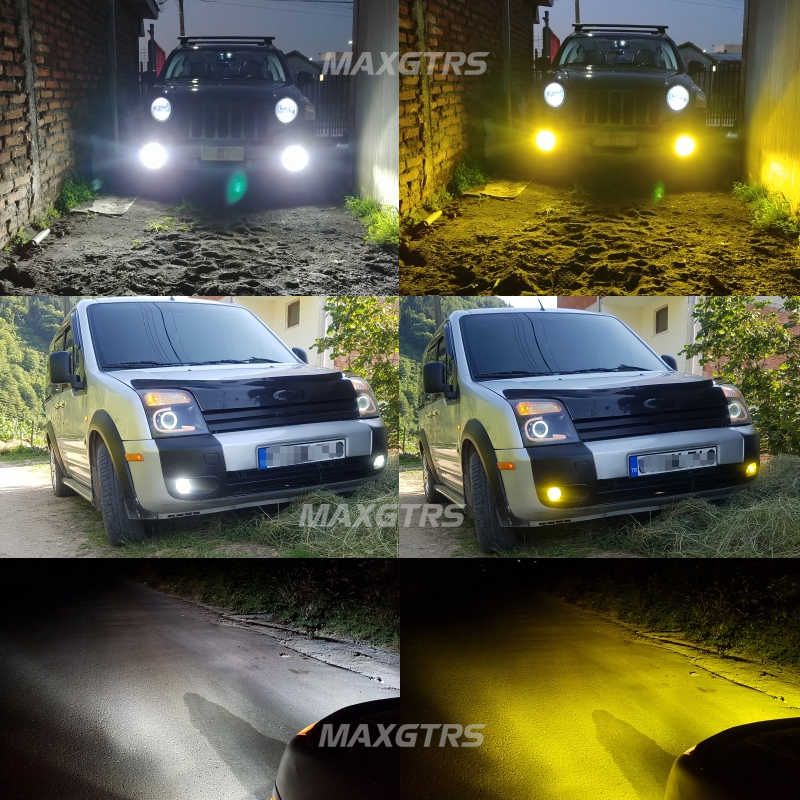 2x двойной цвет H8 H11 H16 (JP) H7 9005 9006 HB3 HB4 50 Вт 5000лм Автомобильный светодиодный противотуманный фара 3000 К 6000 К лампа DRL белого золота