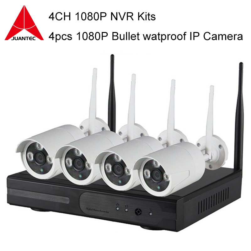 4CH 1080P NVR Kits Plug and Play Wireless P2P Connection 4pcs Security IP font b Camera