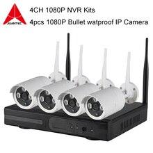 4CH 1080 P Nvr Bezprzewodowy P2P Plug and Play Połączenia 4 sztuk Bezpieczeństwa Systemu CCTV Kamery IP WIFI