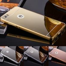 Moldura de Alumínio luxo Metal + Espelho Acrílico de Volta Caso Capa Para Huawei G7 G8 P7 P8 P9 P9 P8 lite lite Tampa 160730 P15