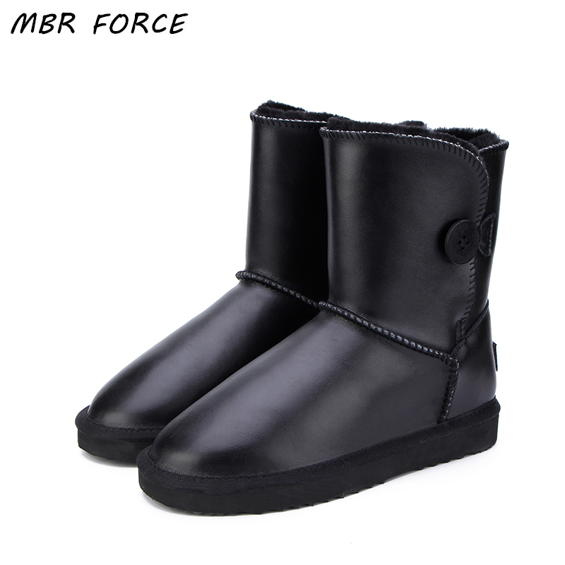 MBR FORCE Australia Classic Lady Shoes High Quality Waterproof Genuine Leather Snow Boots Fur Winter Boots Warm Women UG Boots