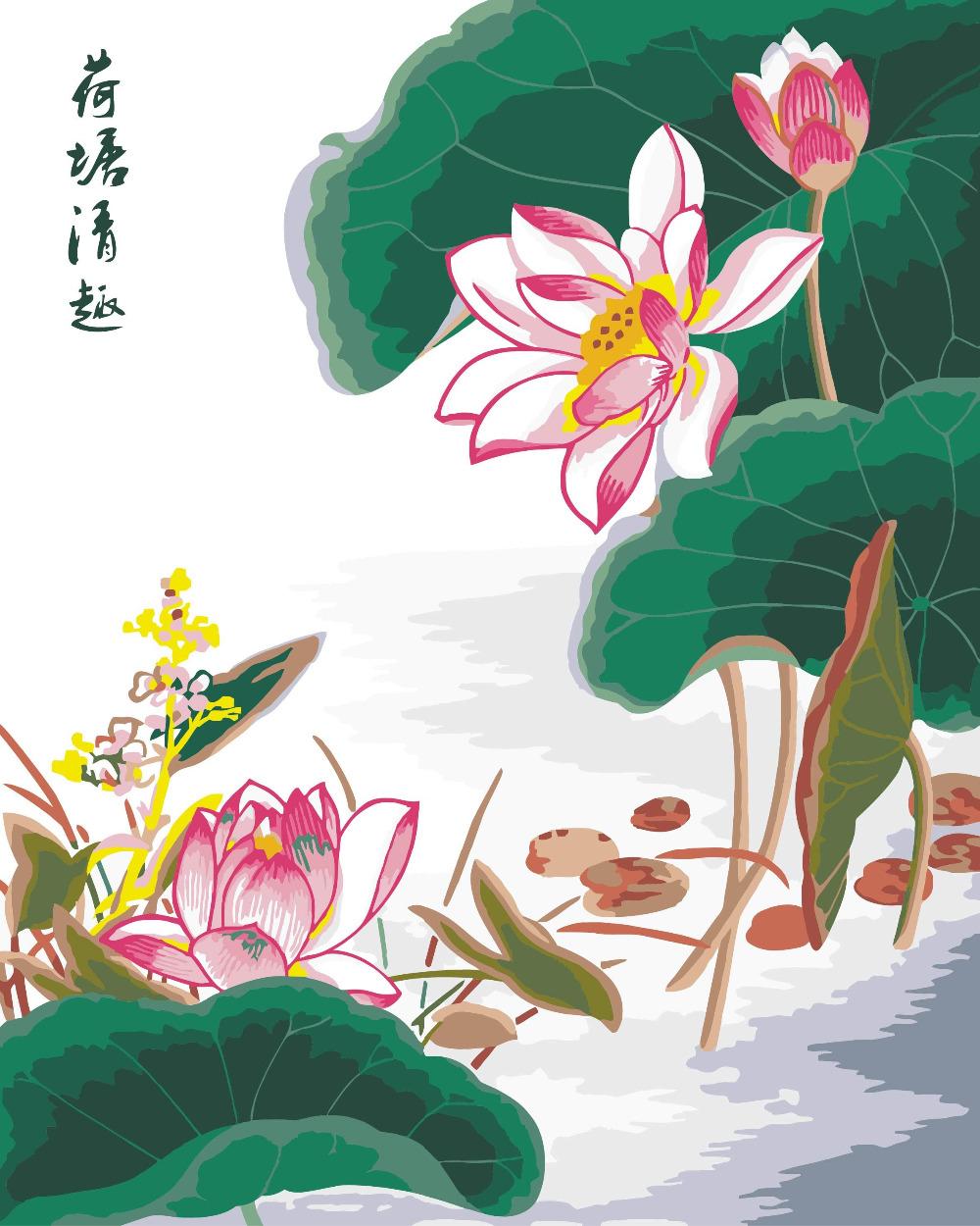 mahuafx rosa luts estanque flor x cm pintura by nmeros en lienzo sobre el