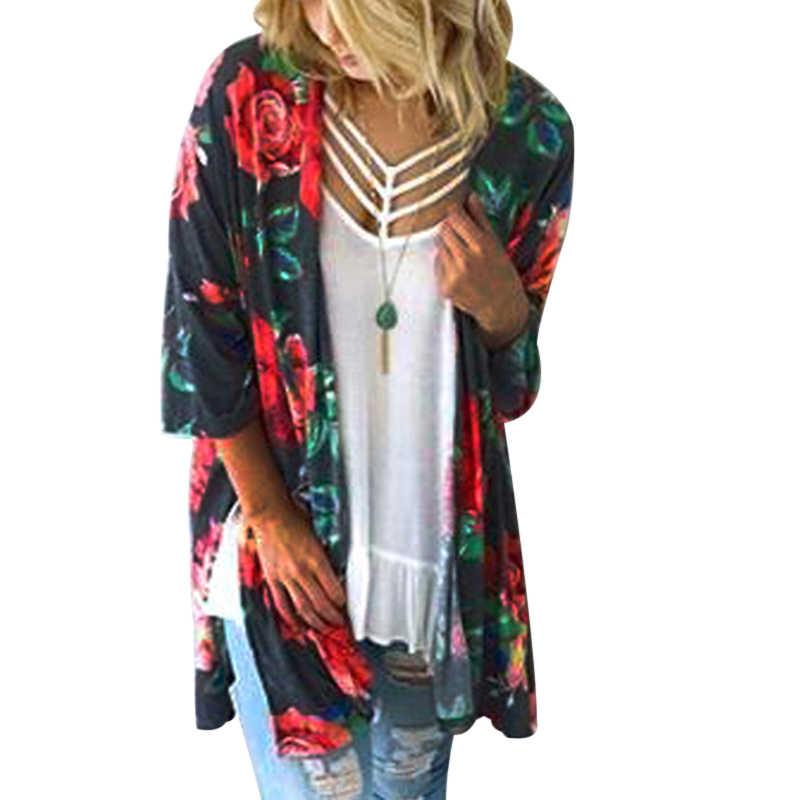 7fac0da8d2 Short Sleeve Chiffon Blouse Kimono Cardigan Jacket Laides Summer Boho Tops  Femme Long Beach Shirts Sexy