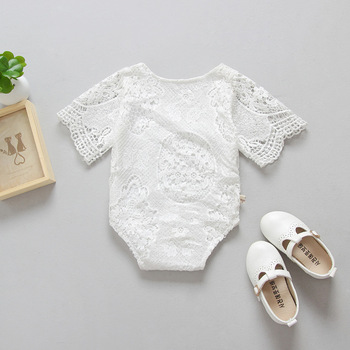 2017 Hot sale new baby clothing girls white lace short sleeve rompers children kids cute jumpsuit photo prop outfit